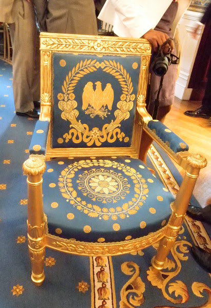 Photo: Chair in the Blue Room at the WH. Blogmistress keister was planted in it for a few moments yesterday.