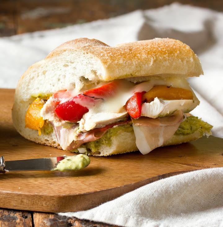 Roasted Red Pepper, Chicken, and Mozzarella Sandwich