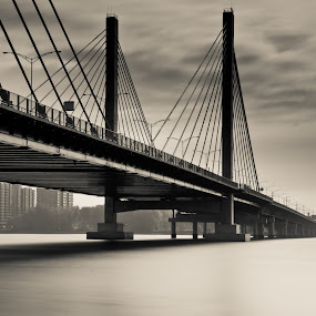 The othe side by Nick Beaudoin - Buildings & Architecture Bridges & Suspended Structures ( water, sepia, bridge, eau, pont, black and white, b&w, portrait, people, city, photography )