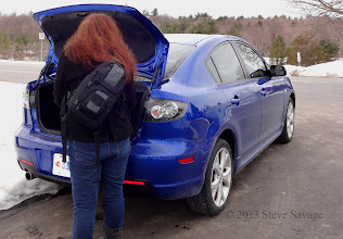 Photo: Rhonda getting her stuff out of the trunk.