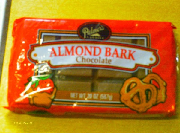 Note: I use the chocolate almond bark from Wal-Mart. I melt the whole package...