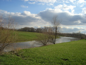 Photo: 4/1/08 - View from the neighbor's lot across the narrow part of the lake.  Our land is on the other side.