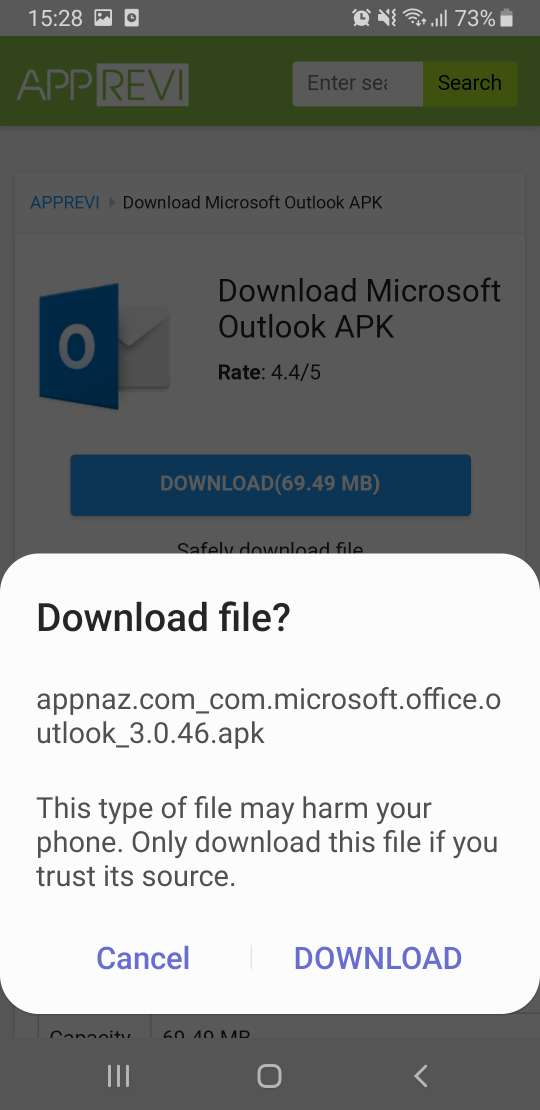 choose Download to continue downloading Outlook APK
