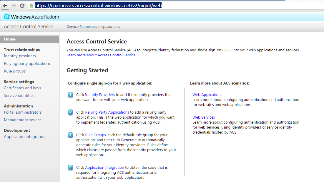 Azure ACS Management Portal