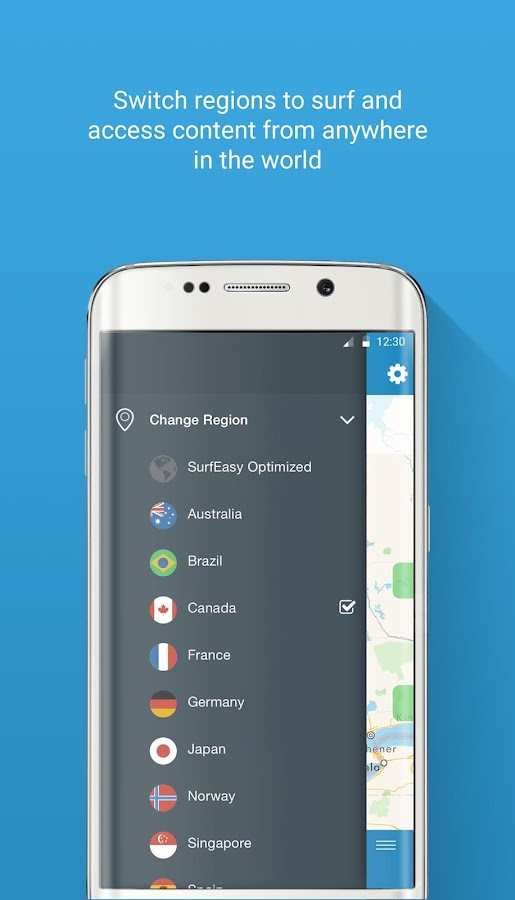 SurfEasy Secure Android VPN- screenshot
