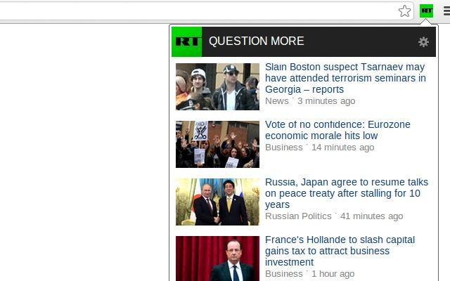 RT News chrome extension