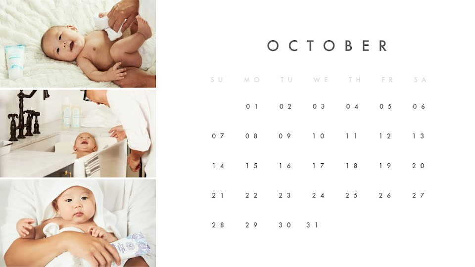 Baby Monthly - Calendar Template