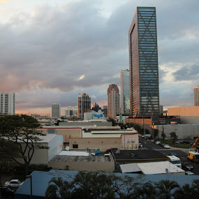 evening  reflection downtown Honolulu  by Michael Guerrero - Buildings & Architecture Office Buildings & Hotels