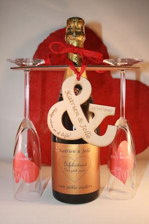 Huwelijk - gepersonaliseerde champagneset voor huwelijk