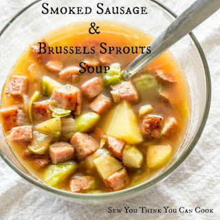 Smoked Sausage and Brussels Sprouts Soup.