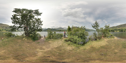 Photo: #photosphere  of Cherry Holm, an island on Ullswater, near Glenridding, photographed on a boating trip this summer. My crew have distributed themselves about the island. Stitched using #Hugin.