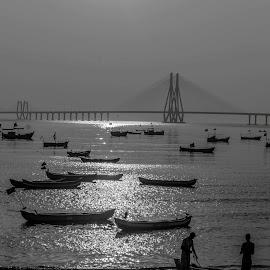 Sea link, boats, people and work by Hariharan Venkatakrishnan - Black & White Landscapes
