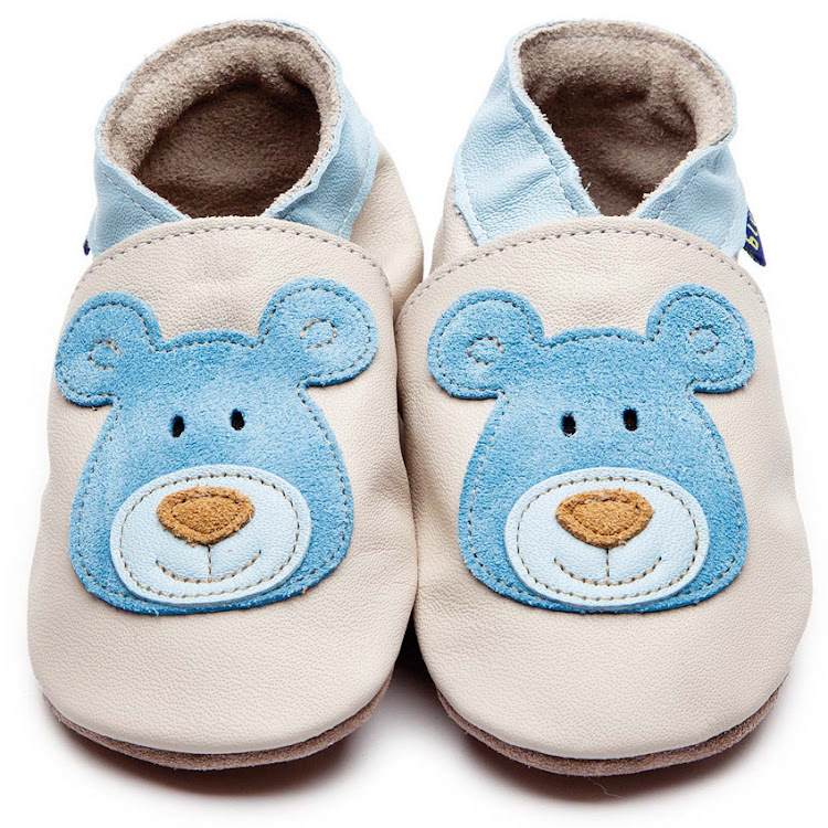 Inch Blue Soft Sole Leather Shoes - Bear Cream Blue (6-12 months) by Berry Wonderful