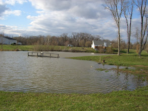 Photo: Side view of the lake & land.  Our land is where the trees are and to the right.