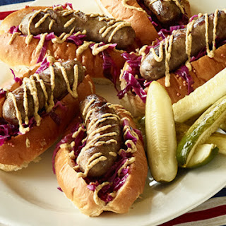 Beer-Simmered Bratwurst with Onions.