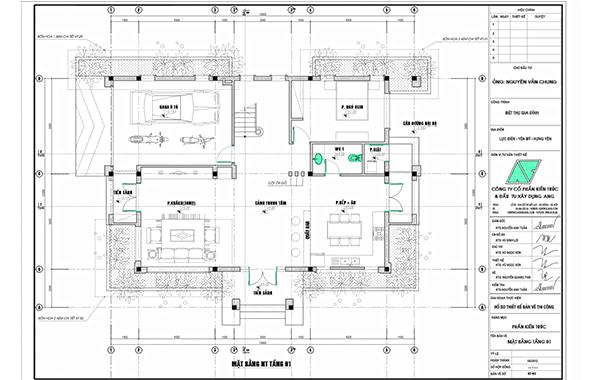 Hồ sơ thiết kế bản vẽ thi công bao gồm các bản vẽ chi tiết