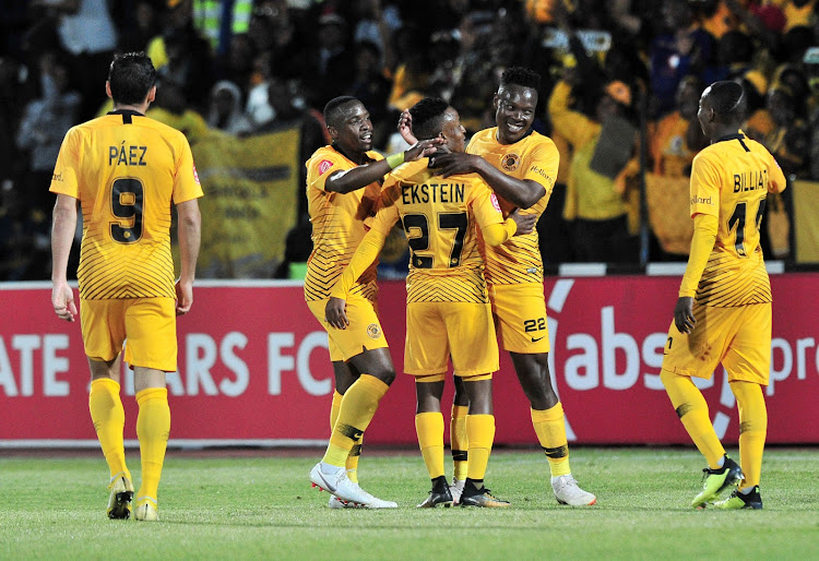 Philani Zulu of Kaizer Chiefs celebrates goal with teammates during the Absa Premiership 2018/19 match between Free State Stars and Kaizer Chief at Goble Park Stadium, Bethlehemon 18 September 2018.