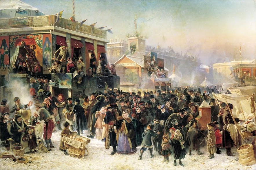 Konstantin Makovsky's classic (sentimental?) 1869 painting of carnival at Admiralty Square in St. Petersburg.