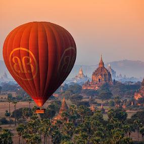 Balloon over Bagan by Felix Hug - Travel Locations Air Travel ( temples, myanmar, travel, balloon, bagan )
