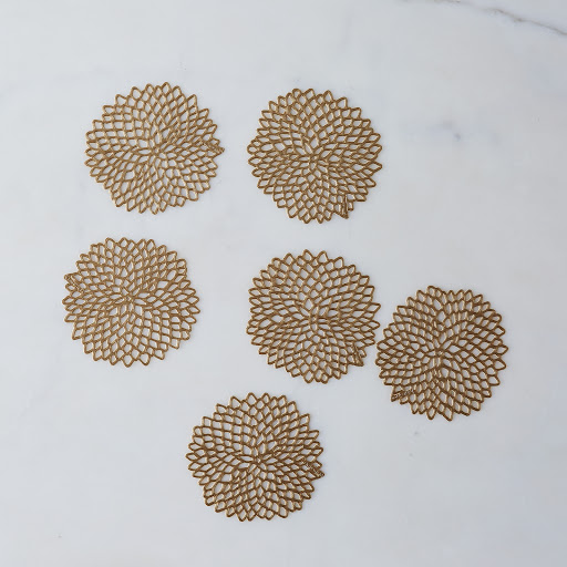 Gold Dahlia Coasters (Set of 6)
