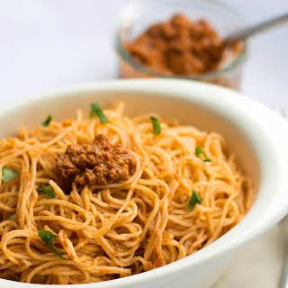 Angel Hair with Red Pesto Sauce.