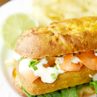 Pub-Style Beer Battered Cod Sandwich with Garlic Lime Sauce.