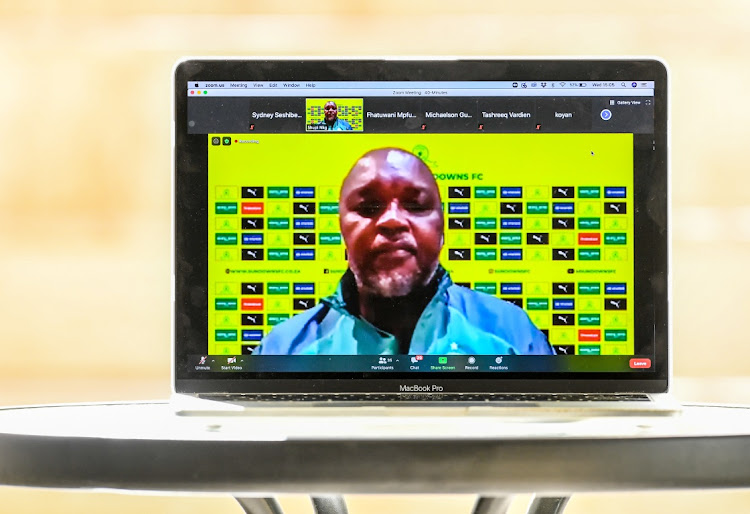 Pitso Mosimane, coach of Mamelodi Sundowns, during the Mamelodi Sundowns virtual press conference in Johannesburg, August 5 2020. Picture: SYDNEY SESHIBEDI/GALLO IMAGES