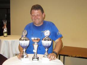 Photo: Die ersten Pokale in ihrer Rallye Kariere Sven und Klaus. Freude über den zweiten Platz in der Gruppe und Mannschaft (Klaus Lüdicke) Foto: Jörg Vach