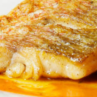 Roasted Red Snapper With Coconut-Ginger Sauce.