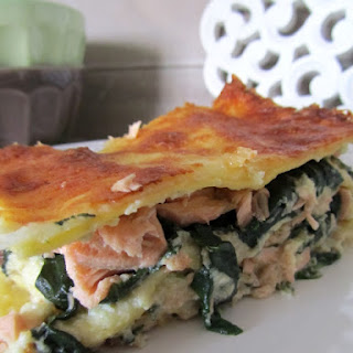 Salmon Lasagna in Sweet Potato Cream and Ricotta.