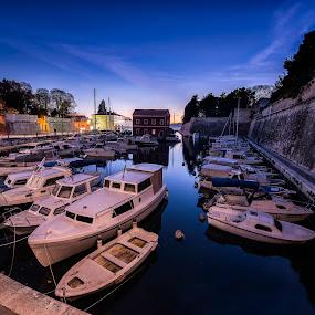 Night in harbour   by Davor Strenja - City,  Street & Park  Street Scenes ( photograpy, blue, croatia, sea, long exposure, night, cityscape, zadar )
