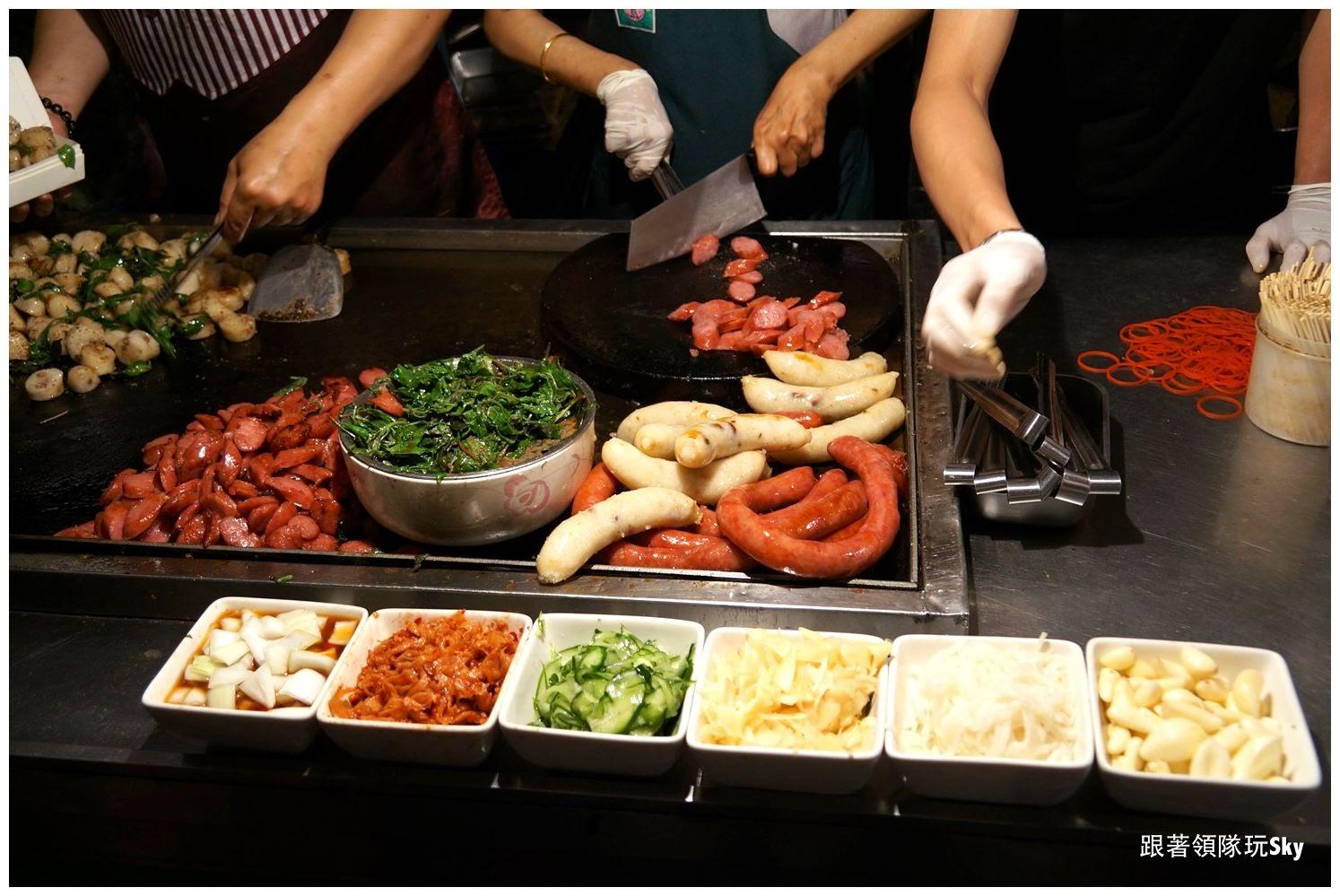 台南美食推薦【 紅妃香腸 大腸】鐵板香腸大腸花園夜市(食尚玩家推薦)