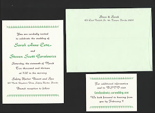Photo: Sarah and Steve had their invitations and reply cards printed in green and brown. Type is Rondo Bold, plus one line of 20th Century Bold Condensed.