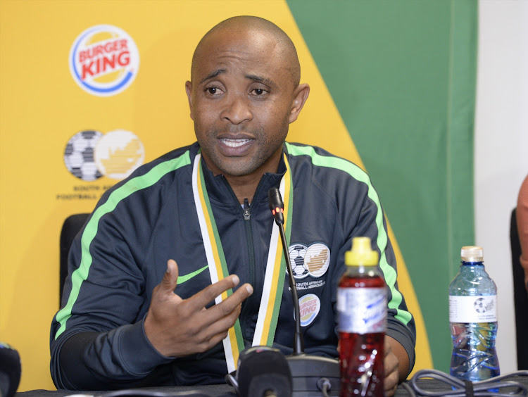 The SA Under-20 head coach Thabo Senong addresses the media during the team's arrival press conference at International Arrivals Media Room at OR Tambo International Airport on February 20 2019.