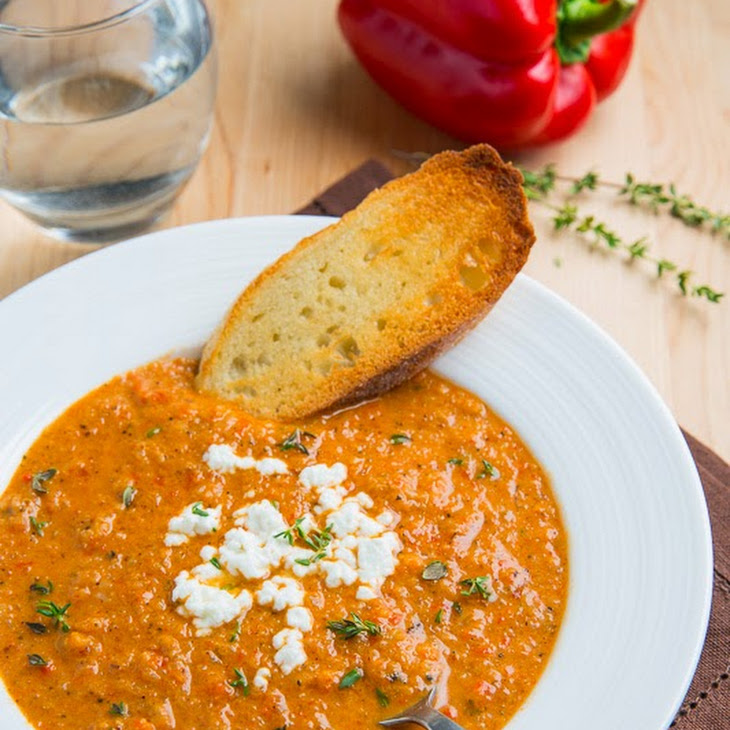 Creamy Roasted Red Pepper and Cauliflower Soup with Goat Cheese Recipe ...