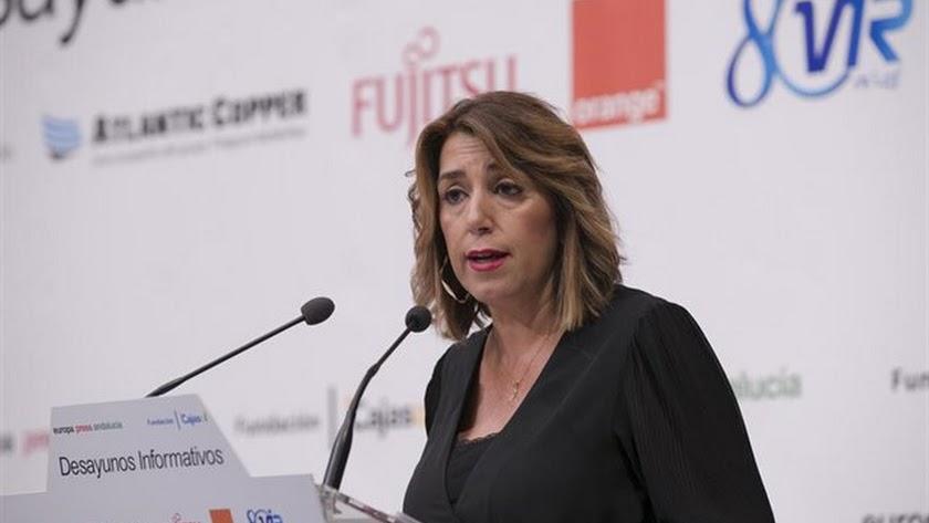 Susana Díaz, este lunes en los desayunos de Europa Press en Sevilla.