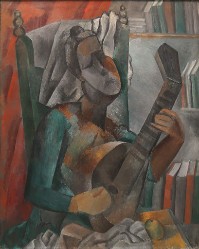 "picasso-woman-playing-mandolin.jpg -  Pablo Picasso, ""Woman Playing a Mandolin,"" 1909, oil on canvas, at the Hermitage at St. Petersburg, Russia."