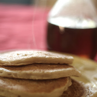 Simple Vegan Pancakes With Homemade Syrup.