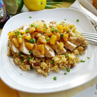 Pineapple Adobo Chicken with Orange Almond Rice