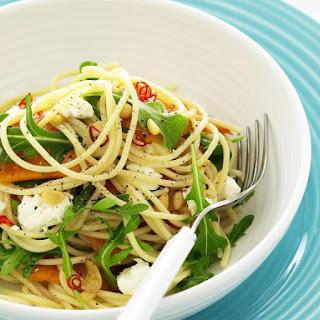 Spaghetti with Squash, Feta and Pine Nuts.