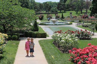 Photo: Hans and I took the kids to a beautiful park in downtown Kansas City on Friday.  It was nice to spend the day as a family.  This place is absolutely amazing.  We have really come to love the hidden treasures that KC has to offer.  This was the rose garden.  They also had a splash park, playground, and tennis courts.  This park is called Loose Park and has 74 acres.  It's right downtown too.  I loved all the huge trees.