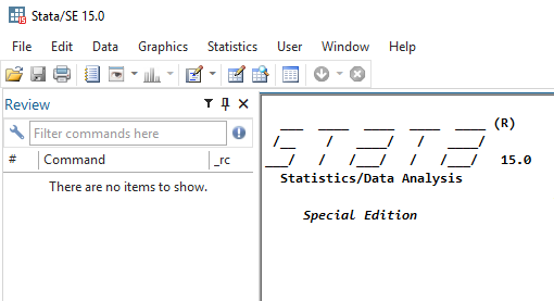 Stata program window with title in title bar