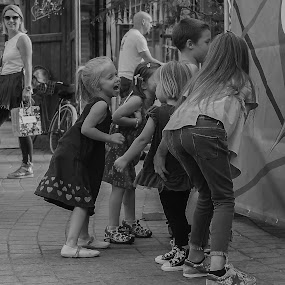 Careless Childhood by Iva Marinić - People Street & Candids ( nikon d, childhood, children, smiles, street, black and white, street photography, fun, laugh, kids, smile, laughing )