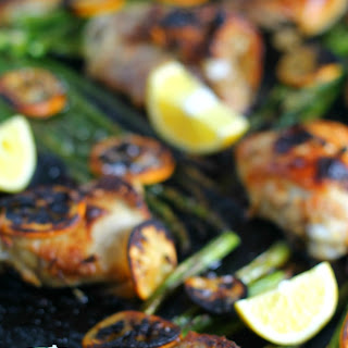 Charred Meyer Lemon Roasted Chicken and Asparagus.