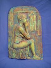 "Photo: Fruenza Relief - 18"" tall - hi fire ceramic clay - cold patina finish"