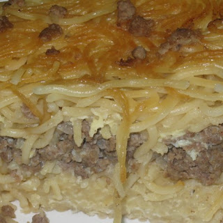 Noodles and meat pie – meat Kugel.