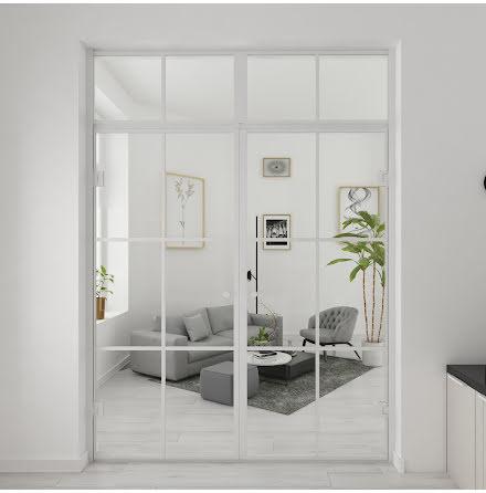 Industrivägg Dörr + Dörr Nisch + ovanliggare vit
