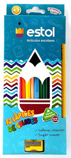 colores de madera estol + sacapuntas 12 und