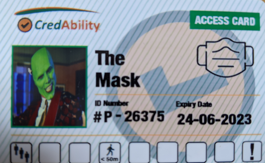 copy of Access Card featuring mask symbol