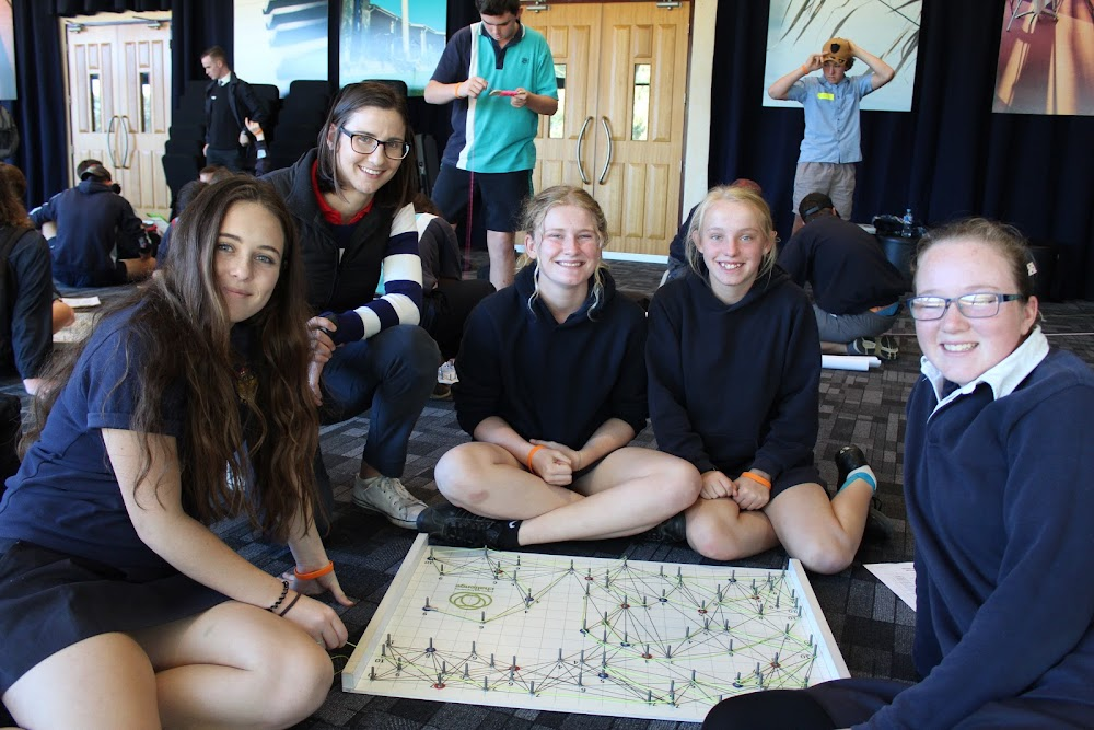 Narrabri High School students Jesse Strong, Meagan Dampney, Caitlyn Ford and Sara Charles with teacher Emily Flood, second from left.